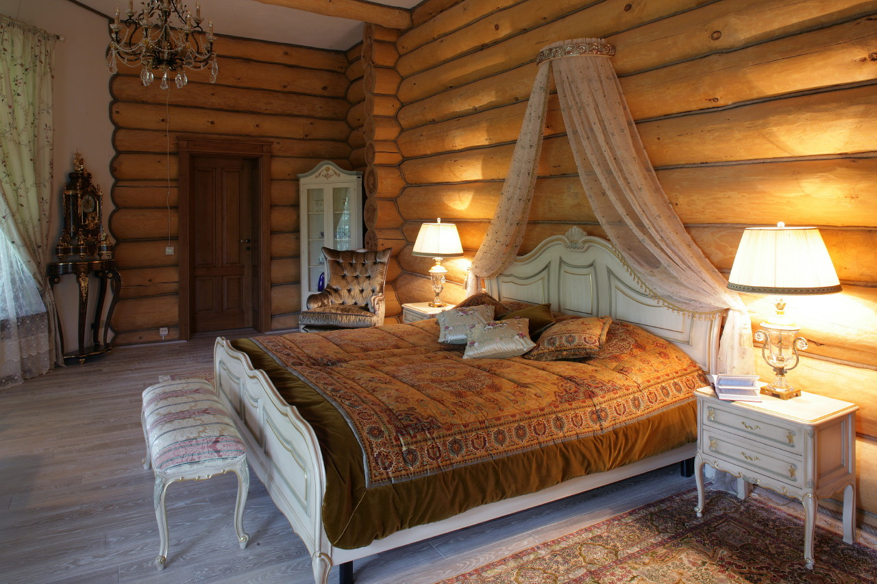 дизайн кухни деревянного дома внутри фото