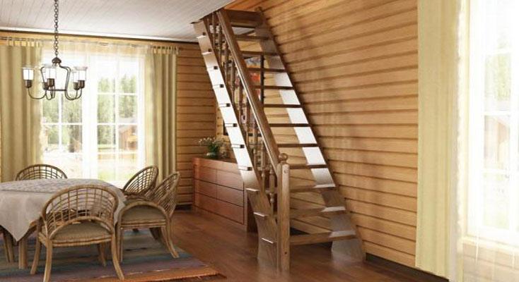 Деревянная лестница на второй этаж дачи своими руками